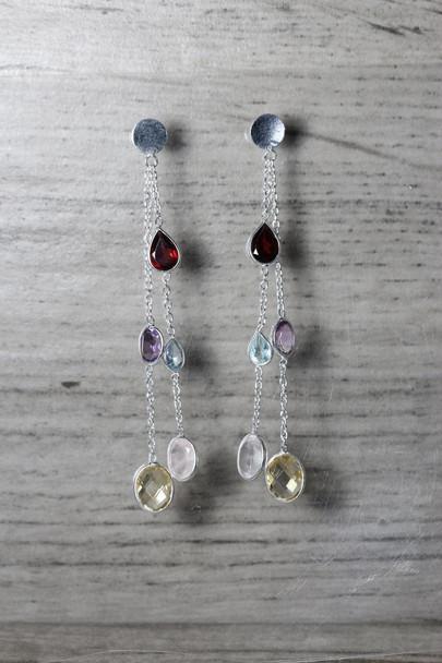 Long Dangle Multiple Gemstone Earrings with Chain Silver Drop