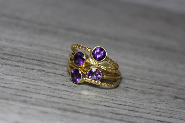 Rich Purple Amethyst Gold Plated Silver Stackable Ring Textured Bezel Band 5mm