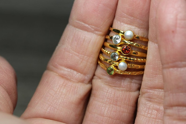 Gold Plated Silver Gemstone Stacking Ring