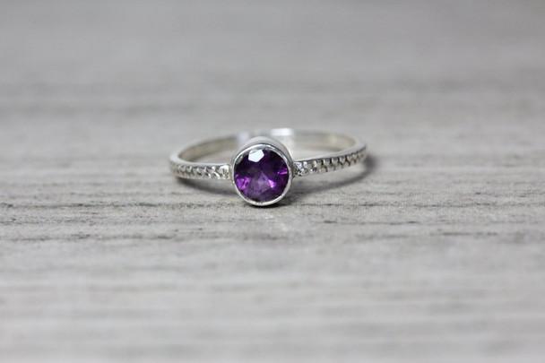 Amethyst Bezel Silver Ring Beaded Band 5mm Genuine Gemstone