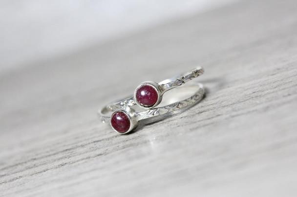 Round Gemstone Bezel Ring Sterling Silver Textured