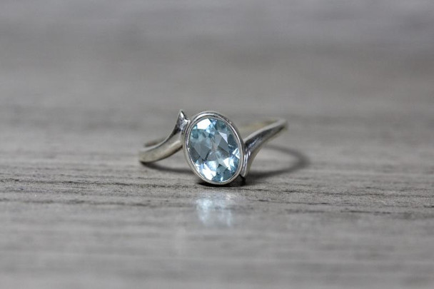 Oval Aquamarine Bypass Bezel Shank Statement Ring
