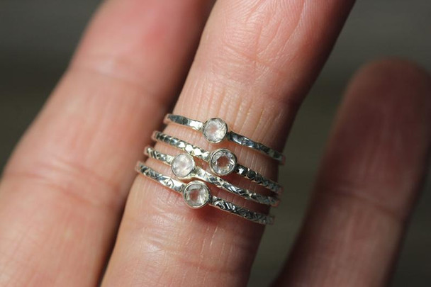 Textured Silver Stacking Ring With Bezel Set Gemstones
