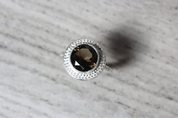 Large Beaded Bezel Smoky Quartz Ring