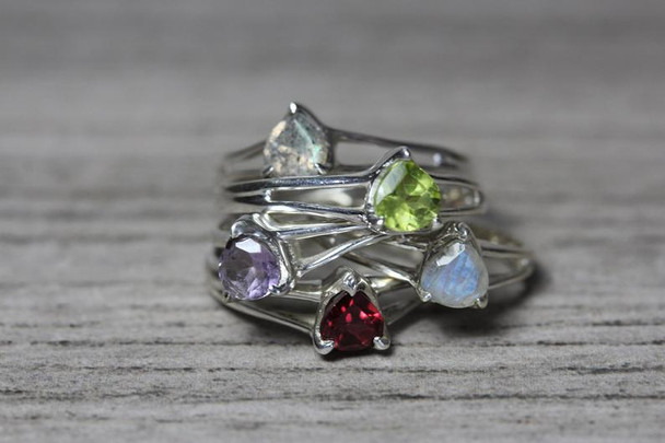 Split Shank 3 Prong Pear Cut Gemstone Ring