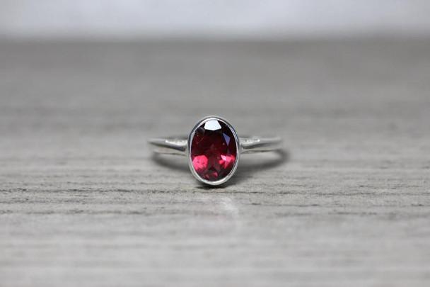 Oval Cutout Bezel Silver Gemstone Ring