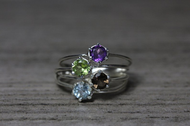 Delicate 6 Prong Round Gemstone Silver Ring Classic Low Profile Cute Setting