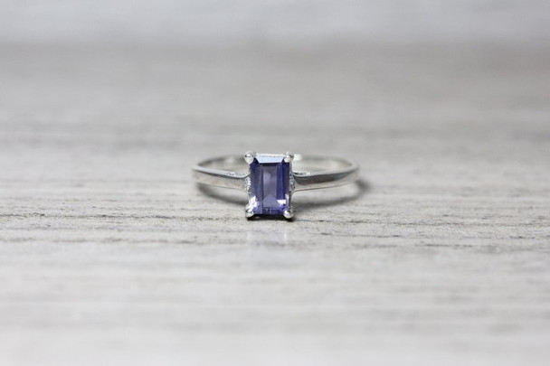 Emerald Cut Gemstone 4 Prong Silver Ring