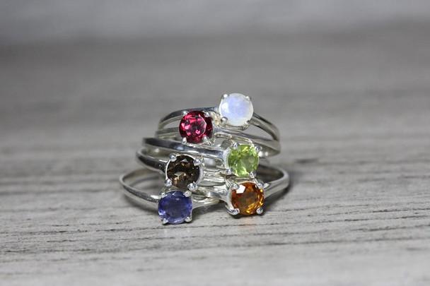 Anniversary 4 Prong Round Gemstone Ring Silver