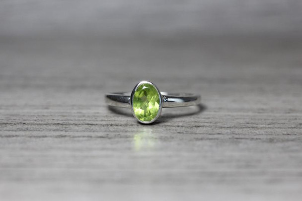 Oval Bezel Silver Gemstone Ring Simple Stackable Birthstone