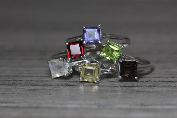 Princess Cut Gemstone Silver Ring 4 Prong Setting