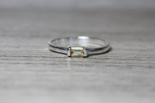 Sideways Emerald Cut Gemstone Silver Ring Partial Bezel