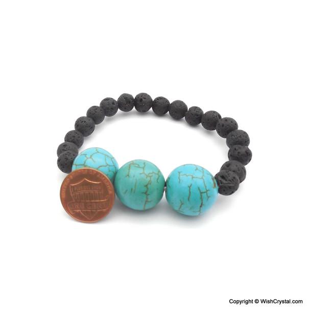 Halo Turquoise & Lava Beads Bracelets