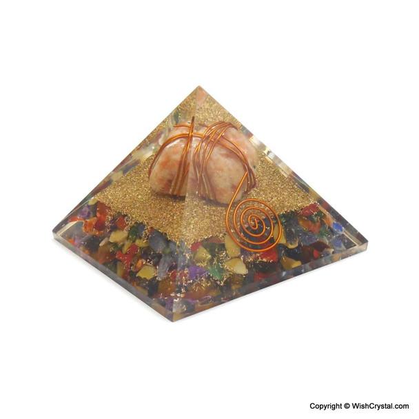 Sunstone wire-wrapped orgonite pyramids