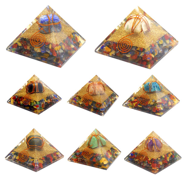 Bag of 10 Wire-wrap Orgonite Gemstone Pyramids