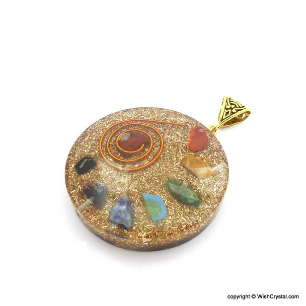 Orgonite Chakra Pendant with Copper Coil - Super 7 - 4