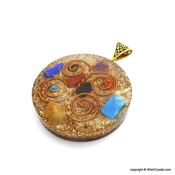 Orgonite Chakra Pendant with Copper Coil - Super 7 - 5