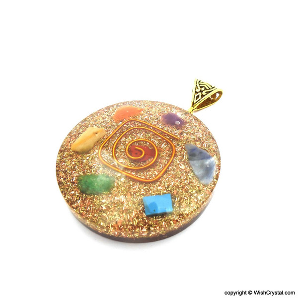 Orgonite Chakra Pendant with Copper Coil - Super 7 - 6