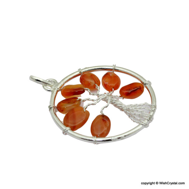 Carnelian flat beads Tree of life pendant