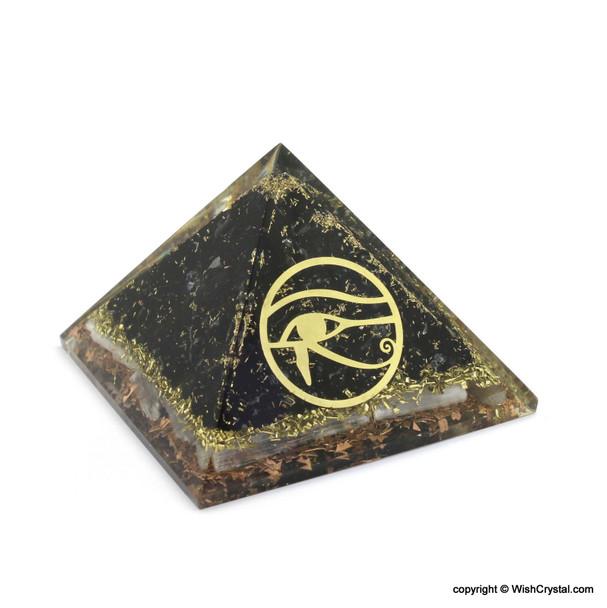 Eye of Horus, Black Tourmaline, Selenite and Copper Orgonite Pyramid - Big Size