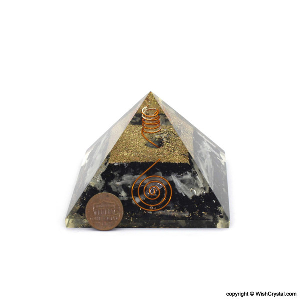 Black Tourmaline, Selenite and Crystal Point Orgonite Pyramid - Big Size