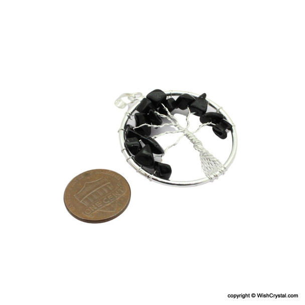 Black Agate Tree of Life Pendant - Round