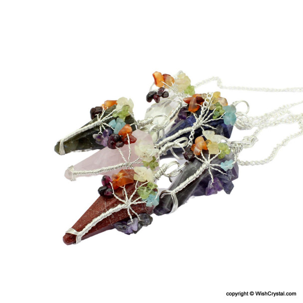 Natural Crystal Stone pendulum with 7 chakra wire-wrap stones