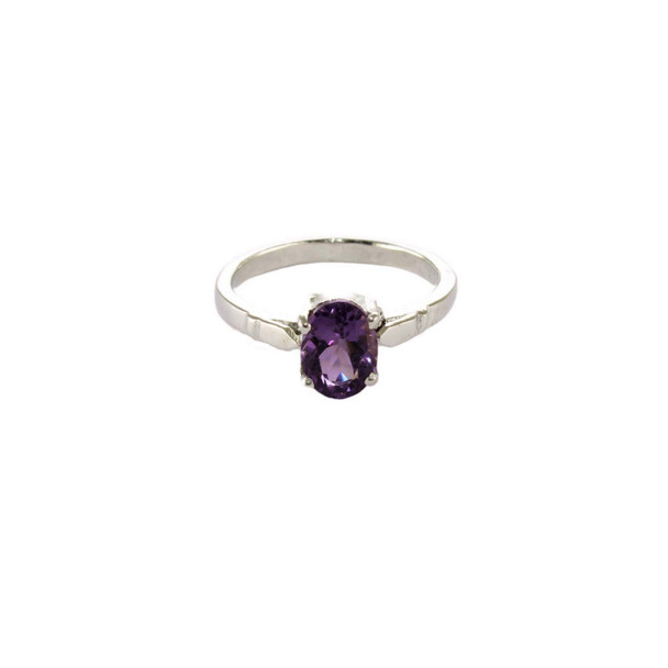 Amethyst Solo Pointer Ring