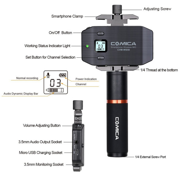 Comica CVM-WS50(B) Professional Lavalier Wireless Smartphone Microphone 智能電話無線收音咪