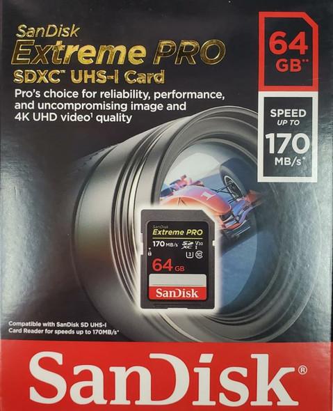 SanDisk Extreme Pro SDHC/SDXC UHS-I Card 64GB [R:170 W:90]