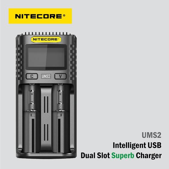 Nitecore UMS2 智能USB 雙槽電池快速充電器