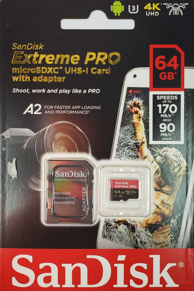 SanDisk Extreme Pro MicroSDXC UHS-I Card 64GB [R:170 W:90]