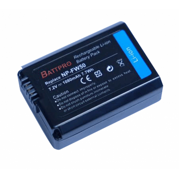Battpro NP-FW50 Battery for Sony A6500 A6400 A6300 A7RII A7II A7R A7