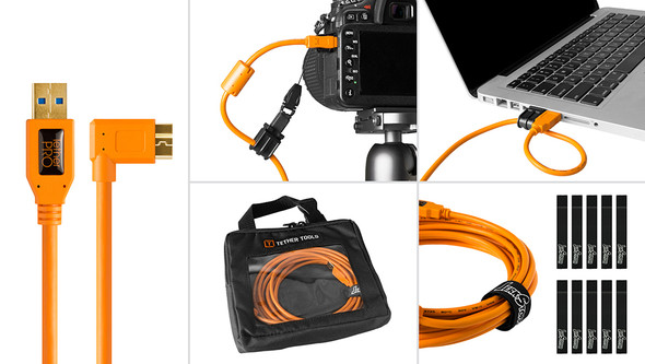Starter Tethering Kit (USB 3.0 to Micro-B Right Angle )