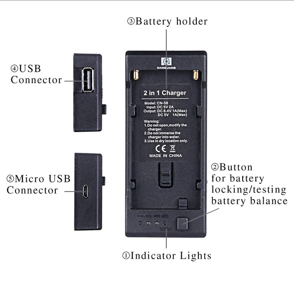 Nanguan 南冠 CN58 NP-F L電池充電及供電座