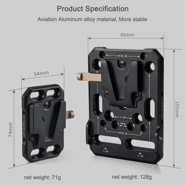 Tilta TA-MBP-K1-V Mini V-Mount Battery Plate + 15mm Rod Adapter Black