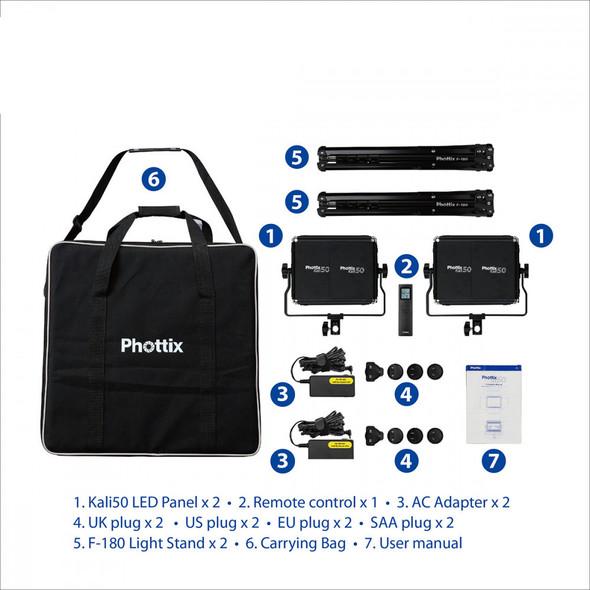 Phottix Kali 50 LED Light Twin Kit Set 雙燈套裝