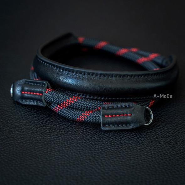 A-MoDe Rope Camera Strap Black Red Leather Shoulder Pad 法國Beal 登山繩帶頸位保護墊 120cm