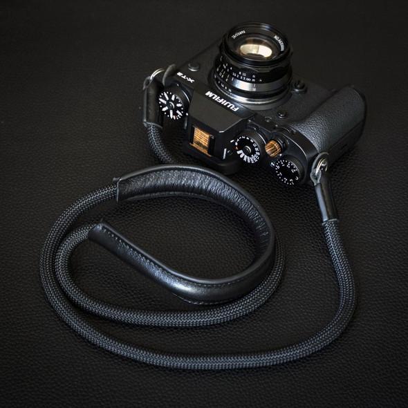 A-MoDe Rope Camera Strap Black Leather Shoulder Pad 法國Beal 登山繩帶頸位保護墊 120cm