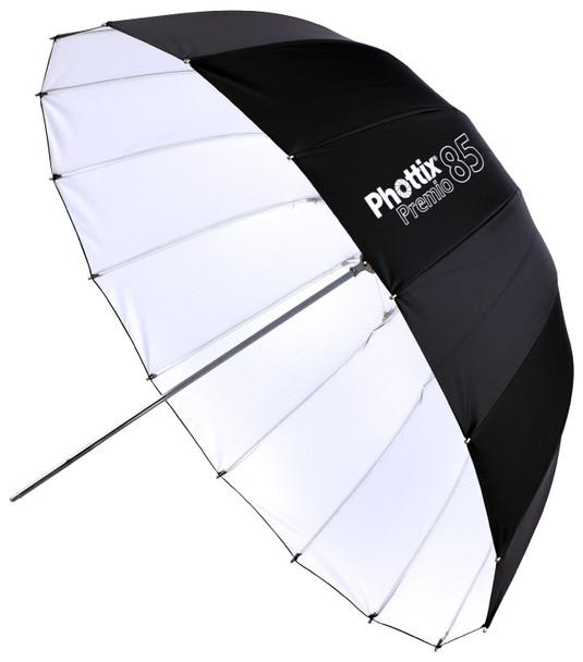 "Phottix Premio Reflective Umbrella 85cm 33"" 特深多骨反光傘 (外黑/內白)"
