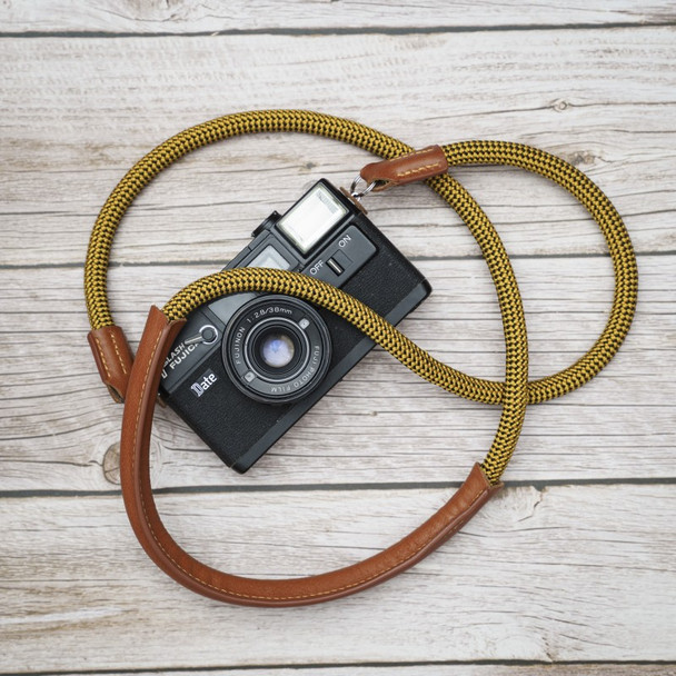 A-MoDe Rope Camera Strap Yellow Leather Shoulder Pad 法國Beal 登山繩帶頸位保護墊 120cm