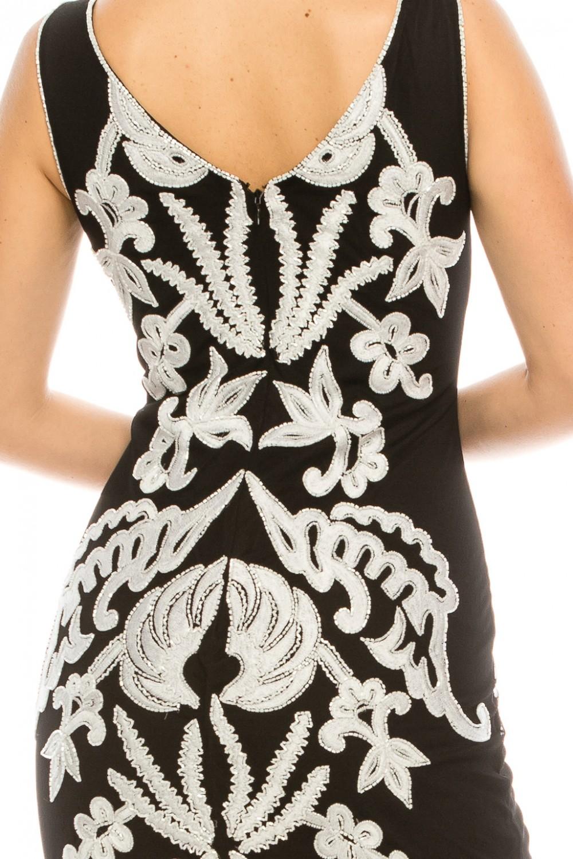 Adrianna Papell Black Ivory Beaded Evening Dress Gown Designer