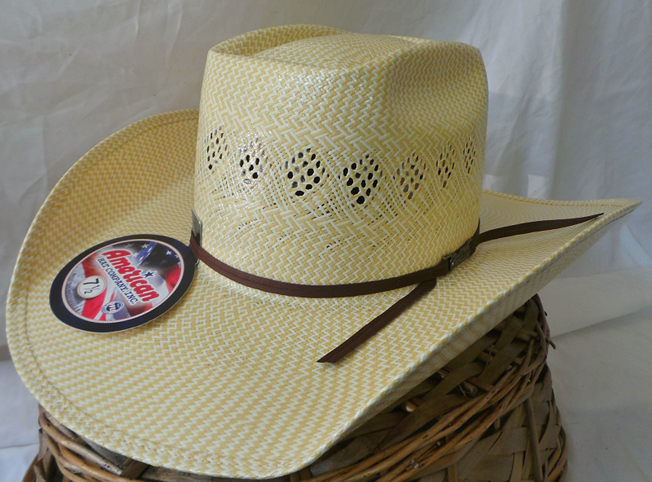 American Hat Company Two Tone Natural Straw Cowboy Hat - 5800