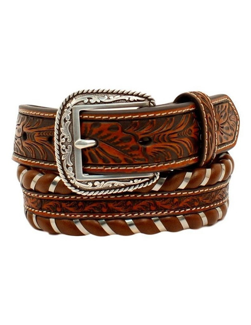 Boys Leather Floral Embossed Laced Edges Ariat Western Belt