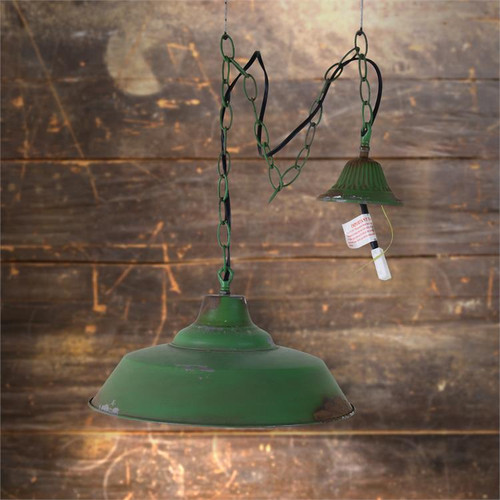 Green Vintage Style Hardwired Hanging Pendant Lamp