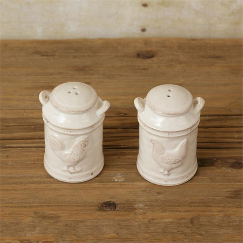 Embossed Rooster and Chicken Milk Can Salt & Pepper Shakers
