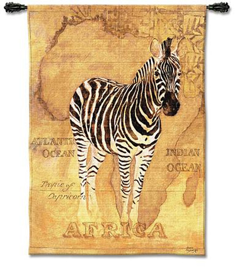 African Voyage II Zebra Tapestry Wal lHanging PC-1600-WH