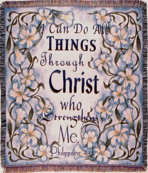 All Things Through Christ Tapestry Throw