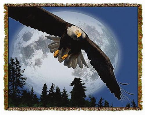 Bald Eagle Woven Afghan or Throw MS-5153TU4
