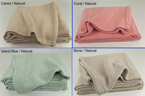 Twin Herringbone Cotton Blanket with Natural Background